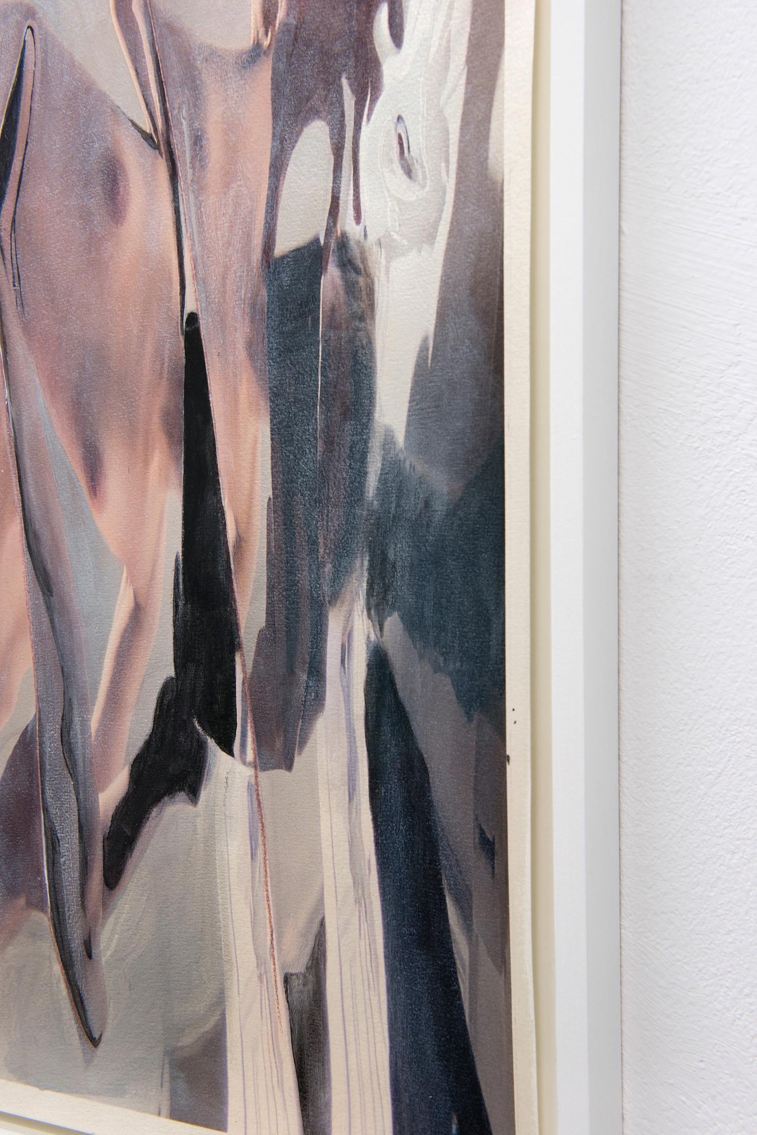Self-portrait 1 (detail), 2020, ink, acrylic and pencil on paper, framed, each 75 x 55,5 x 3 cm — © Manon Wertenbroek